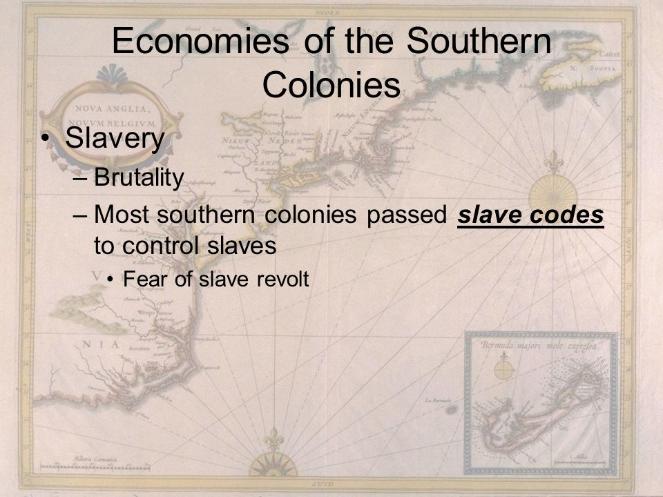 Economies of the Southern Colonies Slavery –Brutality –Most southern colonies passed slave codes to control slaves Fear of slave revolt
