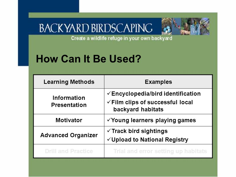 How Can It Be Used? Learning MethodsExamples Information Presentation Encyclopedia/bird identification Film clips of successful local backyard habitat