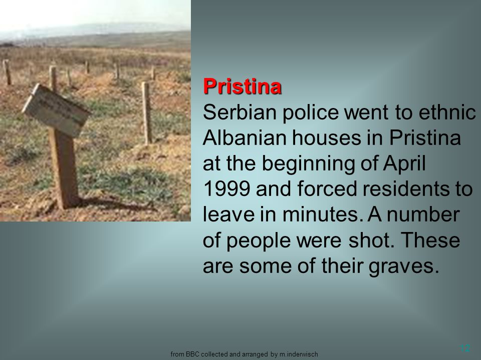 from BBC collected and arranged by m.inderwisch 12 Pristina Pristina Serbian police went to ethnic Albanian houses in Pristina at the beginning of Apr