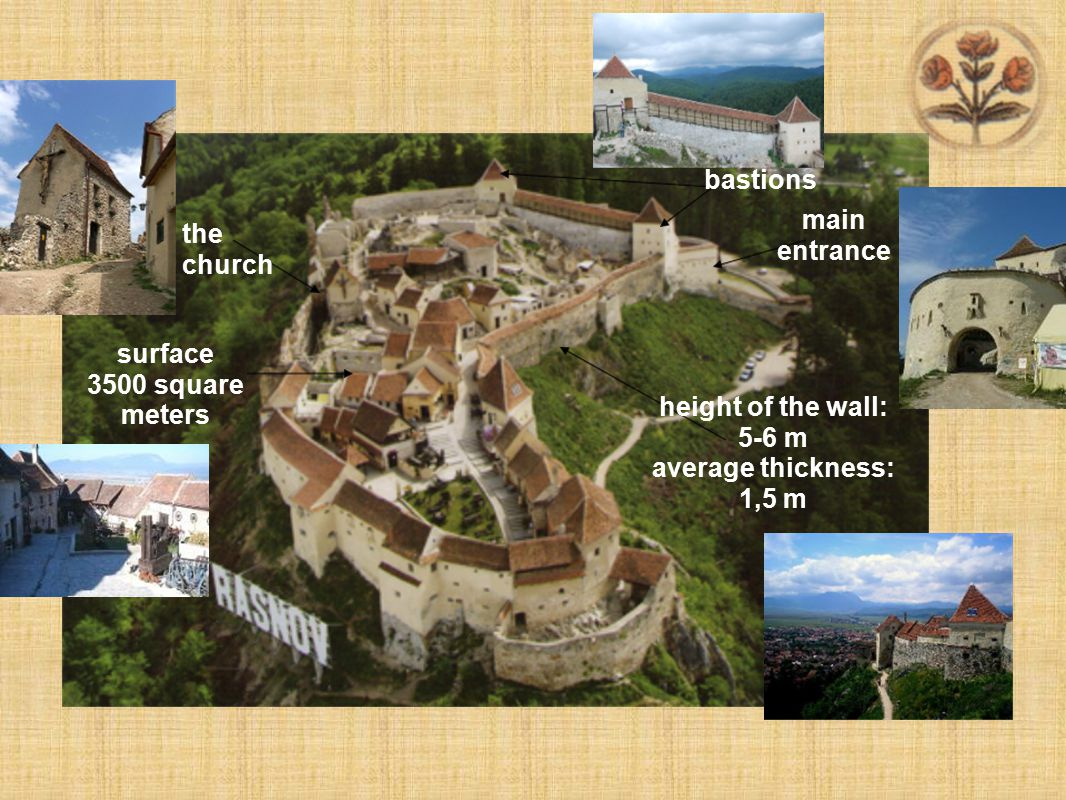 surface 3500 square meters the church height of the wall: 5-6 m average thickness: 1,5 m bastions main entrance