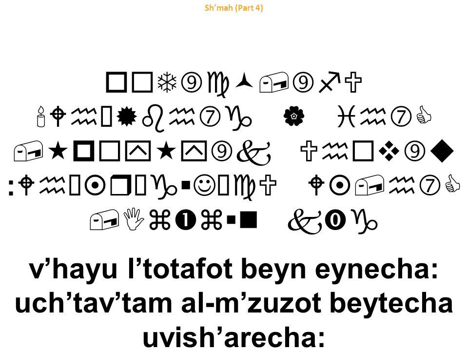 Sh'mah (Part 4) o  T‰c©,‰fU Whœ®bh‡g | ih‡C,«p  y«y‰k Uh  v  u :Whœ¤rŠg  JˆcU W¤,h‡C,Iz  z  n k‹g v'hayu l'totafot beyn eynecha: uch'tav'tam al-m'zuzot beytecha uvish'arecha: