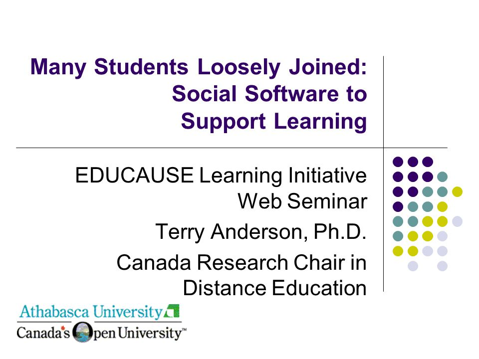 Many Students Loosely Joined: Social Software to Support Learning EDUCAUSE Learning Initiative Web Seminar Terry Anderson, Ph.D.