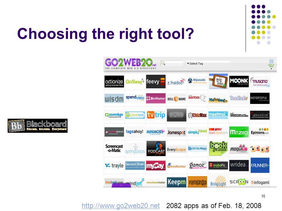 Choosing the right tool. http://www.go2web20.nethttp://www.go2web20.net 2082 apps as of Feb.