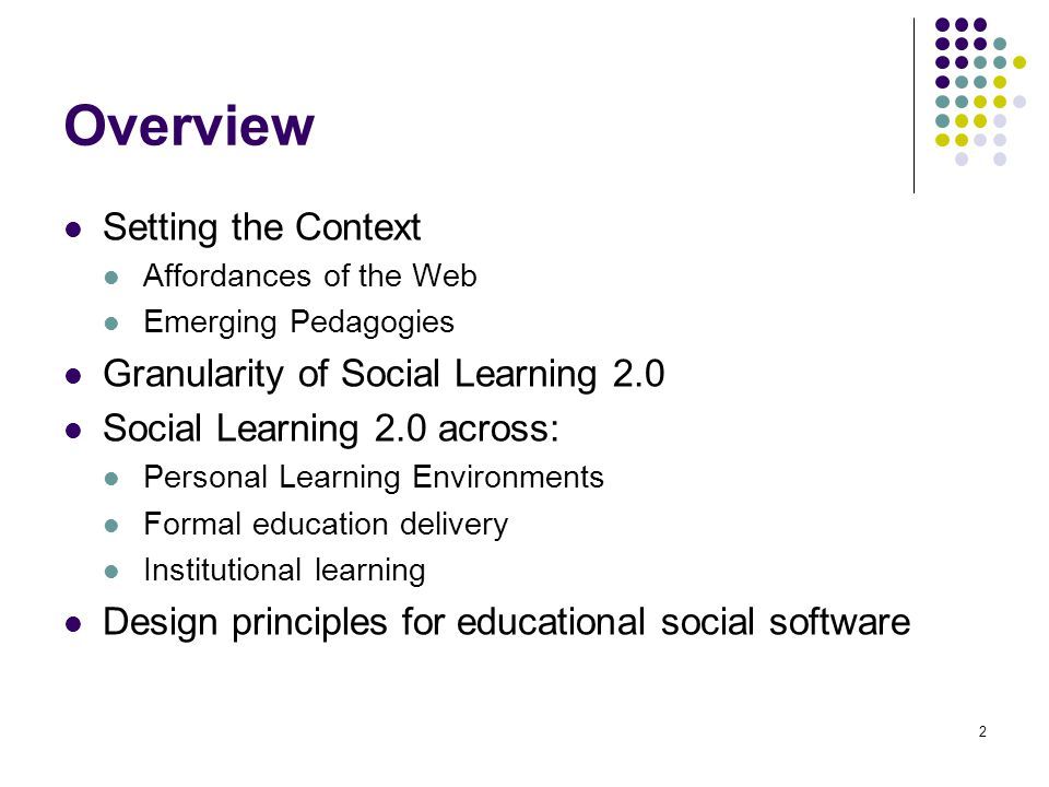 Overview Setting the Context Affordances of the Web Emerging Pedagogies Granularity of Social Learning 2.0 Social Learning 2.0 across: Personal Learning Environments Formal education delivery Institutional learning Design principles for educational social software 2