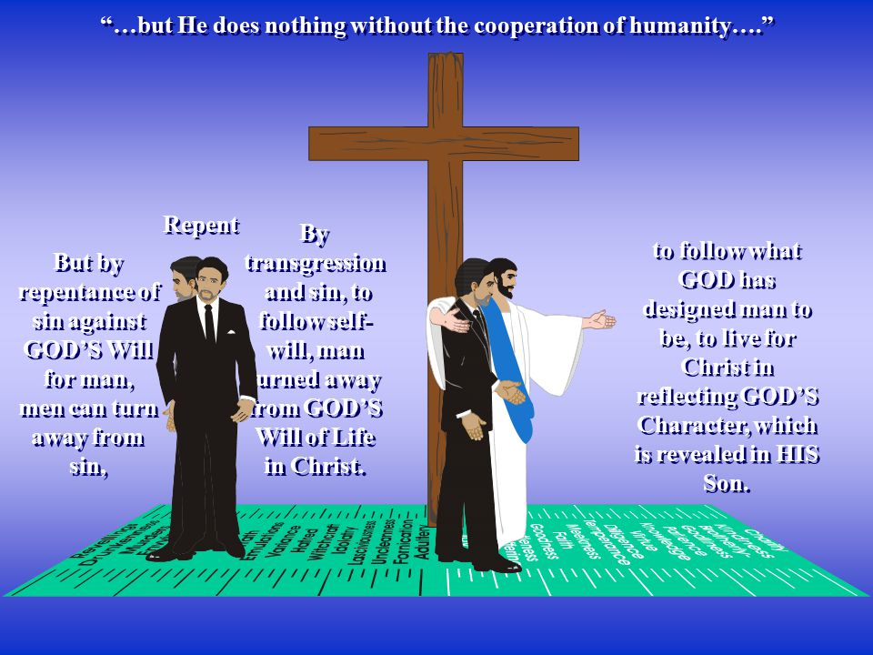…but He does nothing without the cooperation of humanity…. By transgression and sin, to follow self- will, man turned away from GOD'S Will of Life in Christ.