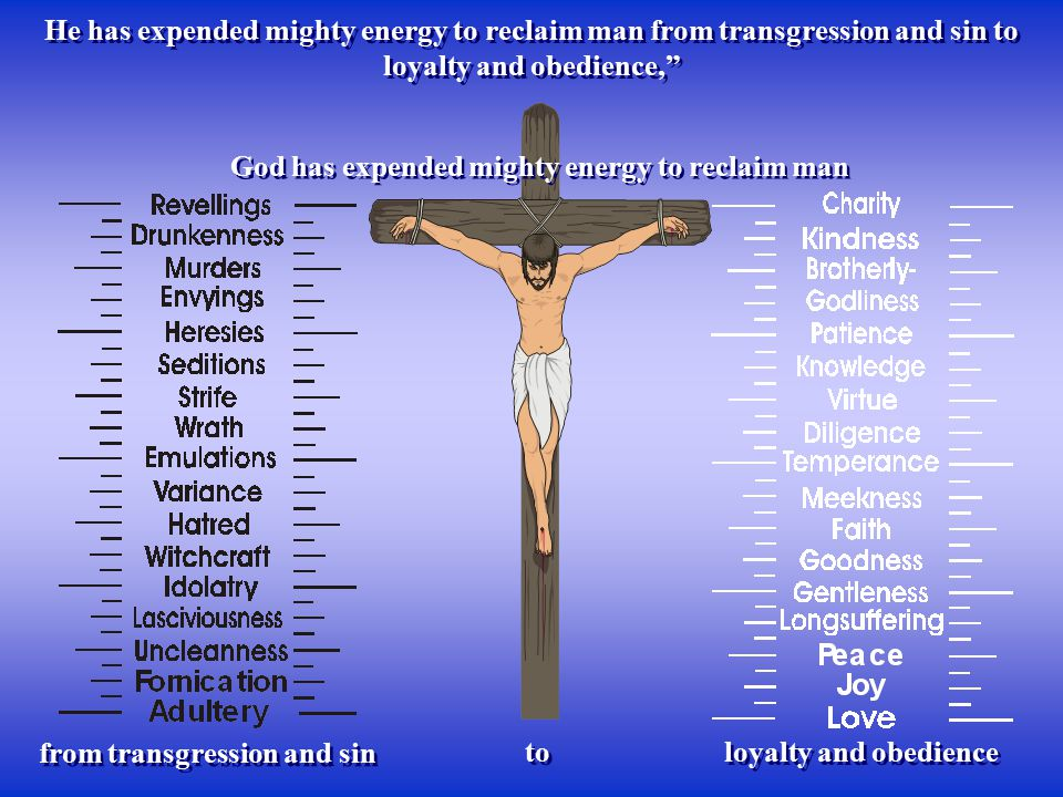 "God has expended mighty energy to reclaim man He has expended mighty energy to reclaim man from transgression and sin to loyalty and obedience,"" to fr"