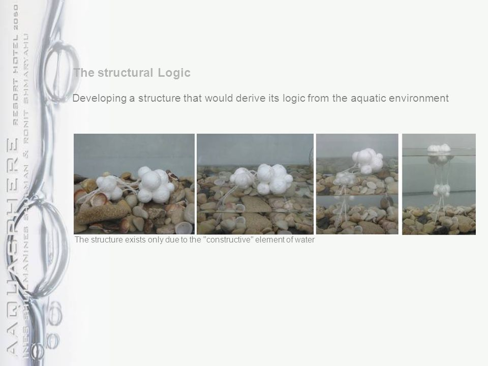 Developing a structure that would derive its logic from the aquatic environment The structure exists only due to the constructive element of water The structural Logic