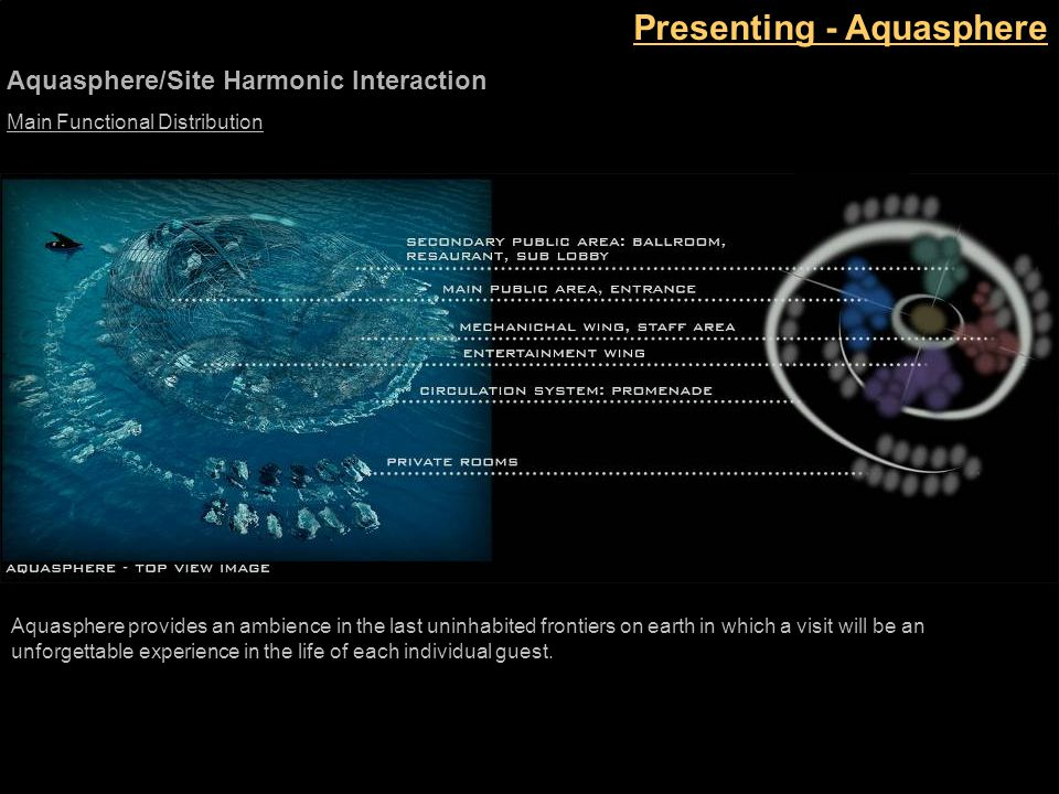 Presenting - Aquasphere Main Functional Distribution Aquasphere provides an ambience in the last uninhabited frontiers on earth in which a visit will