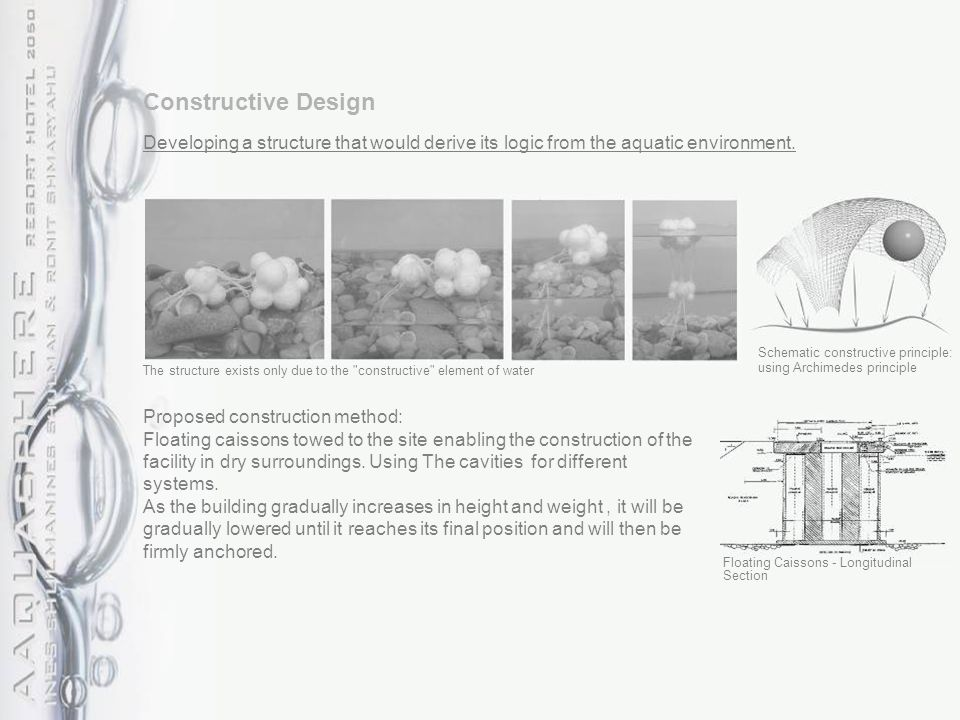 Constructive Design Developing a structure that would derive its logic from the aquatic environment. The structure exists only due to the