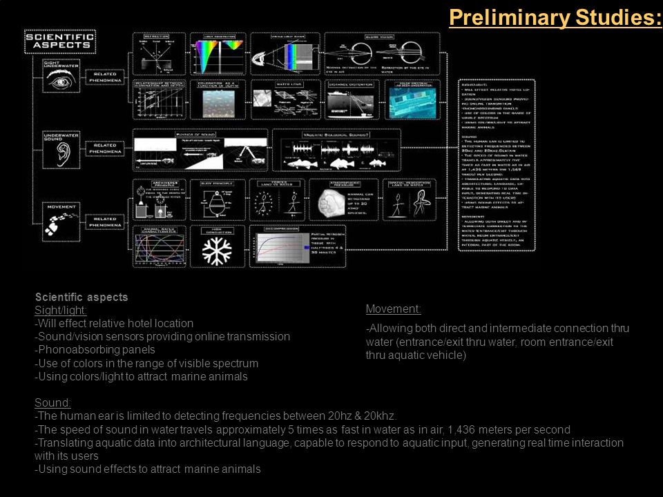 Scientific aspects Sight/light: -Will effect relative hotel location -Sound/vision sensors providing online transmission -Phonoabsorbing panels -Use of colors in the range of visible spectrum -Using colors/light to attract marine animals Sound: -The human ear is limited to detecting frequencies between 20hz & 20khz.