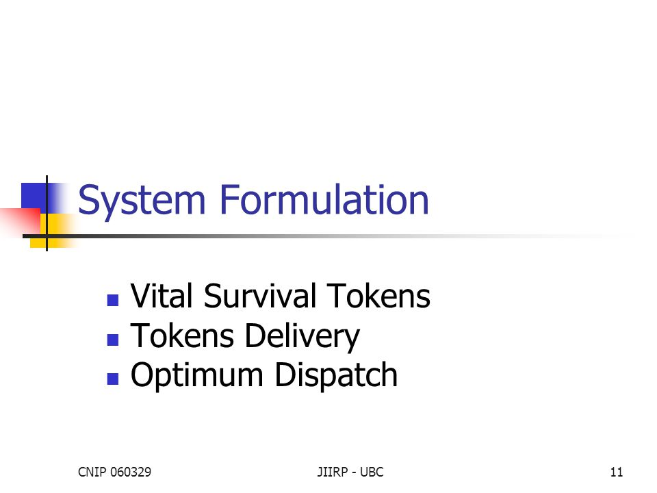 CNIP 060329JIIRP - UBC11 System Formulation Vital Survival Tokens Tokens Delivery Optimum Dispatch