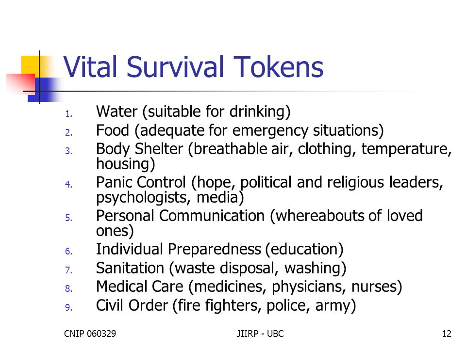 CNIP 060329JIIRP - UBC12 Vital Survival Tokens 1. Water (suitable for drinking) 2. Food (adequate for emergency situations) 3. Body Shelter (breathabl