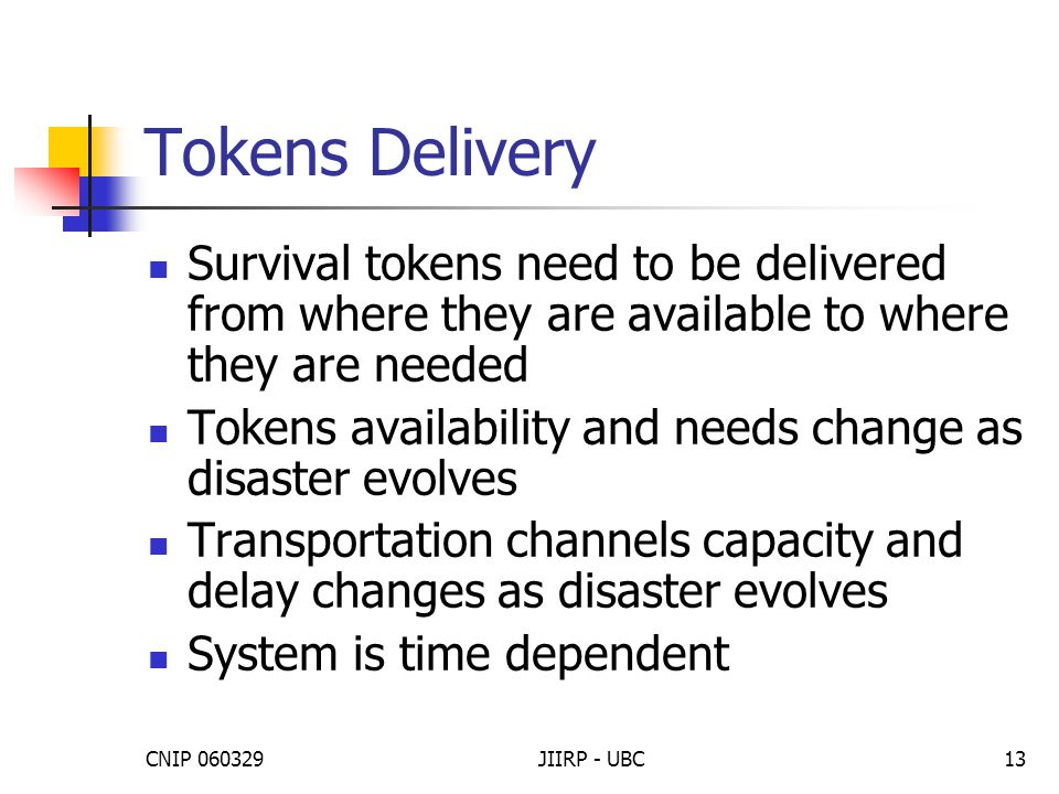 CNIP 060329JIIRP - UBC13 Tokens Delivery Survival tokens need to be delivered from where they are available to where they are needed Tokens availabili