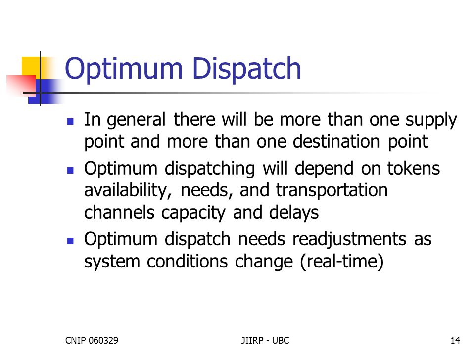 CNIP 060329JIIRP - UBC14 Optimum Dispatch In general there will be more than one supply point and more than one destination point Optimum dispatching