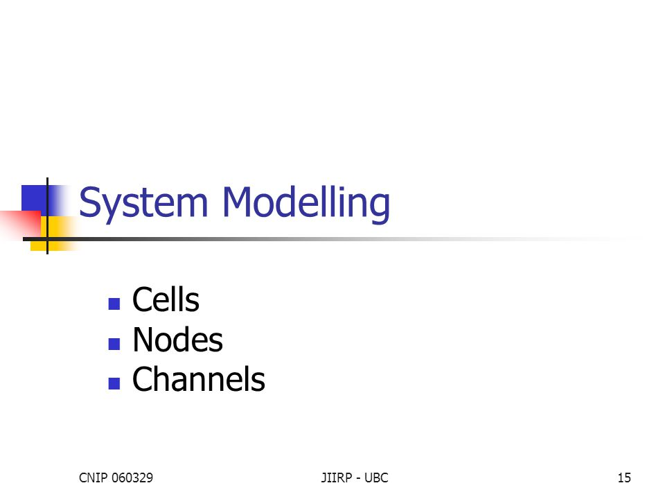 CNIP 060329JIIRP - UBC15 System Modelling Cells Nodes Channels