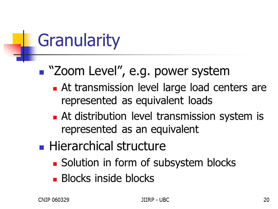 """CNIP 060329JIIRP - UBC20 Granularity """"Zoom Level"""", e.g. power system At transmission level large load centers are represented as equivalent loads At d"""