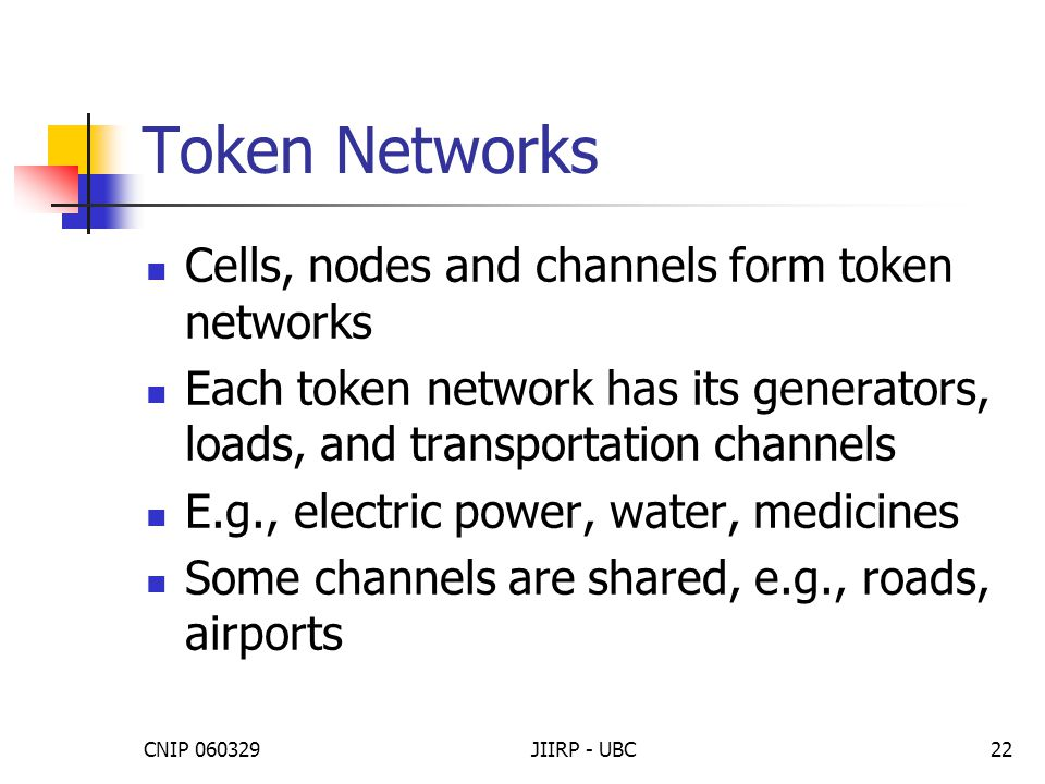 CNIP 060329JIIRP - UBC22 Token Networks Cells, nodes and channels form token networks Each token network has its generators, loads, and transportation