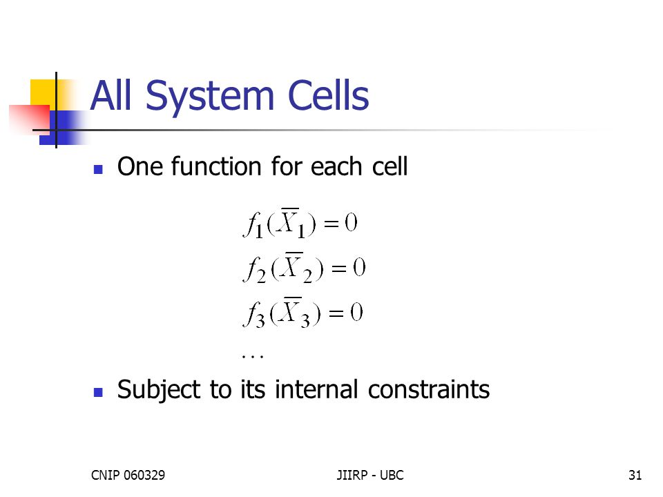 CNIP 060329JIIRP - UBC31 All System Cells One function for each cell Subject to its internal constraints