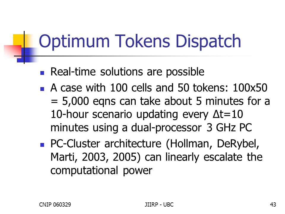 CNIP 060329JIIRP - UBC43 Optimum Tokens Dispatch Real-time solutions are possible A case with 100 cells and 50 tokens: 100x50 = 5,000 eqns can take ab