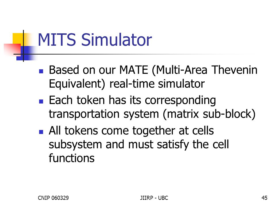 CNIP 060329JIIRP - UBC45 MITS Simulator Based on our MATE (Multi-Area Thevenin Equivalent) real-time simulator Each token has its corresponding transp