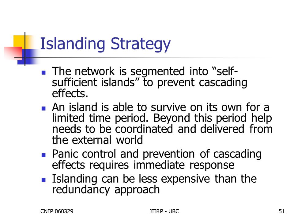 """CNIP 060329JIIRP - UBC51 Islanding Strategy The network is segmented into """"self- sufficient islands"""" to prevent cascading effects. An island is able t"""