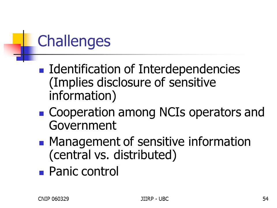 CNIP 060329JIIRP - UBC54 Challenges Identification of Interdependencies (Implies disclosure of sensitive information) Cooperation among NCIs operators and Government Management of sensitive information (central vs.