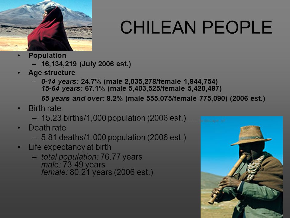 CHILEAN PEOPLE Population –16,134,219 (July 2006 est.) Age structure –0-14 years: 24.7% (male 2,035,278/female 1,944,754) 15-64 years: 67.1% (male 5,4