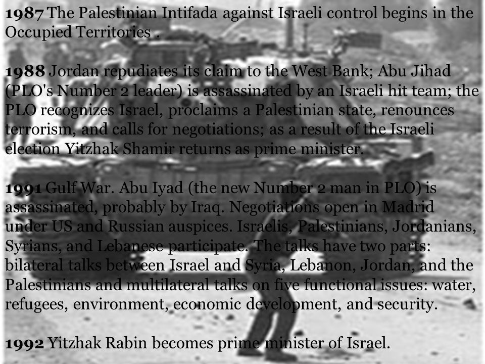 1987 The Palestinian Intifada against Israeli control begins in the Occupied Territories.