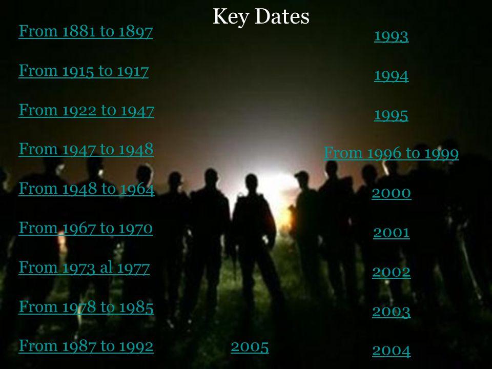 Key Dates From 1881 to 1897 From 1915 to 1917 From 1922 t0 1947 From 1947 to 1948 From 1948 to 1964 From 1967 to 1970 From 1973 al 1977 From 1978 to 1985 From 1987 to 1992 1993 1994 1995 From 1996 to 1999 2000 2001 2002 2003 2004 2005