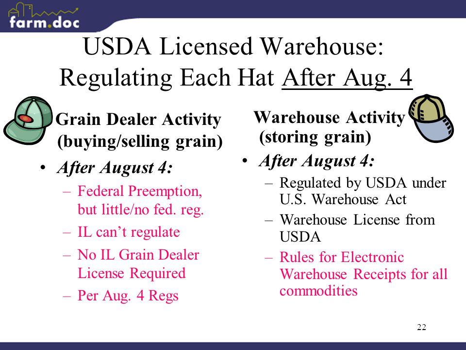 22 USDA Licensed Warehouse: Regulating Each Hat After Aug.