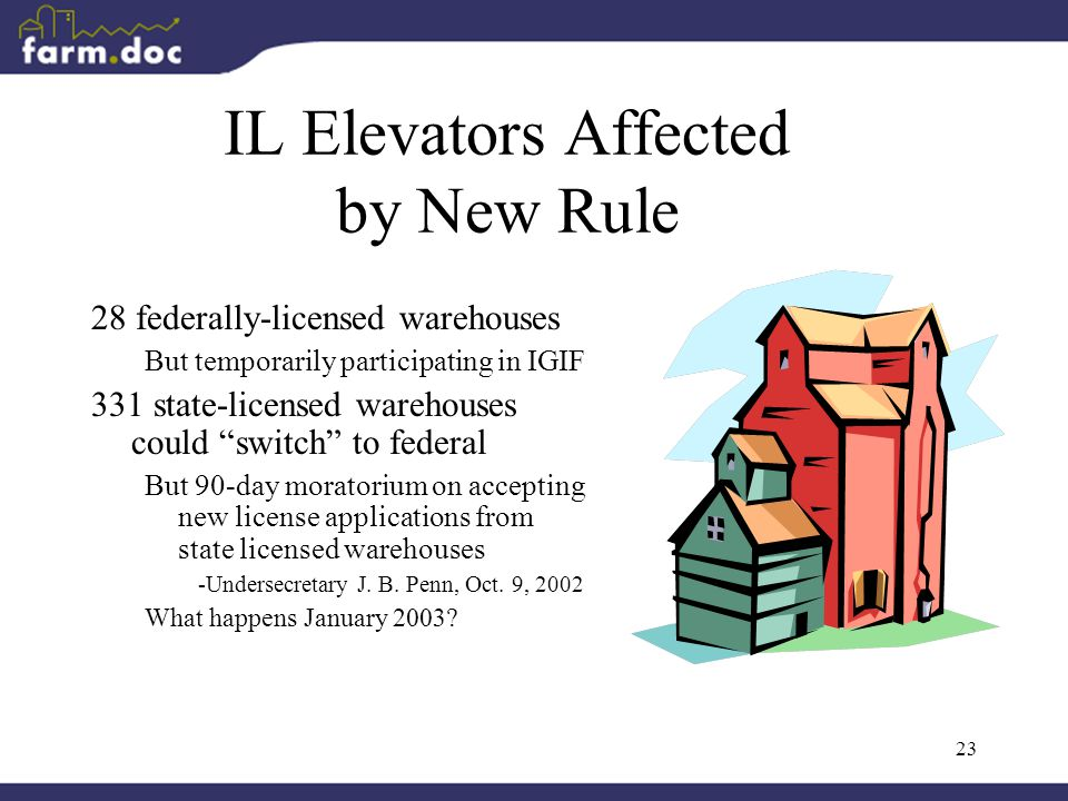 23 IL Elevators Affected by New Rule 28 federally-licensed warehouses But temporarily participating in IGIF 331 state-licensed warehouses could switch to federal But 90-day moratorium on accepting new license applications from state licensed warehouses -Undersecretary J.
