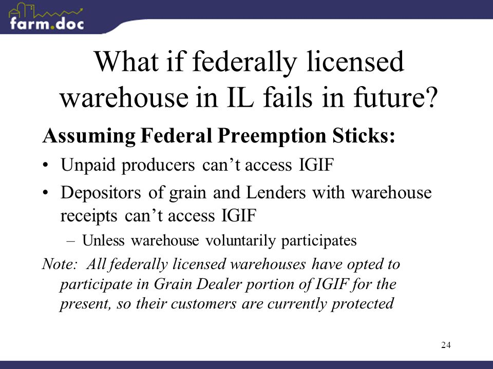 24 What if federally licensed warehouse in IL fails in future.