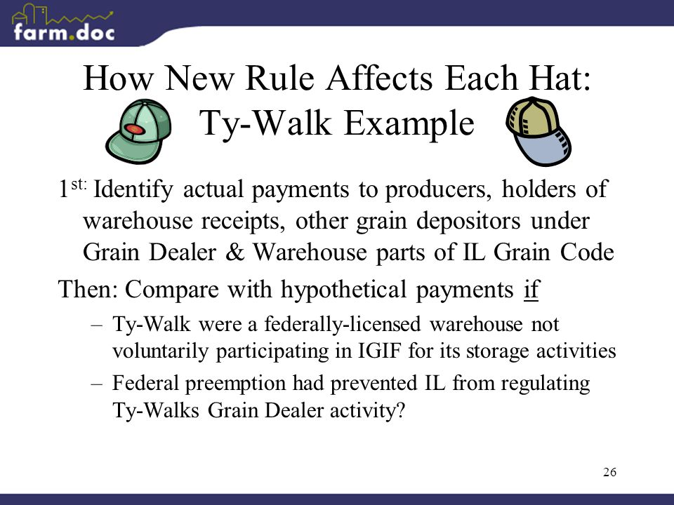 26 How New Rule Affects Each Hat: Ty-Walk Example 1 st: Identify actual payments to producers, holders of warehouse receipts, other grain depositors under Grain Dealer & Warehouse parts of IL Grain Code Then: Compare with hypothetical payments if –Ty-Walk were a federally-licensed warehouse not voluntarily participating in IGIF for its storage activities –Federal preemption had prevented IL from regulating Ty-Walks Grain Dealer activity?