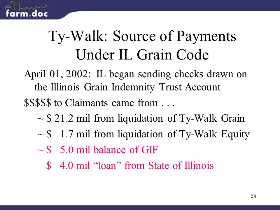 28 Ty-Walk: Source of Payments Under IL Grain Code April 01, 2002: IL began sending checks drawn on the Illinois Grain Indemnity Trust Account $$$$$ to Claimants came from...