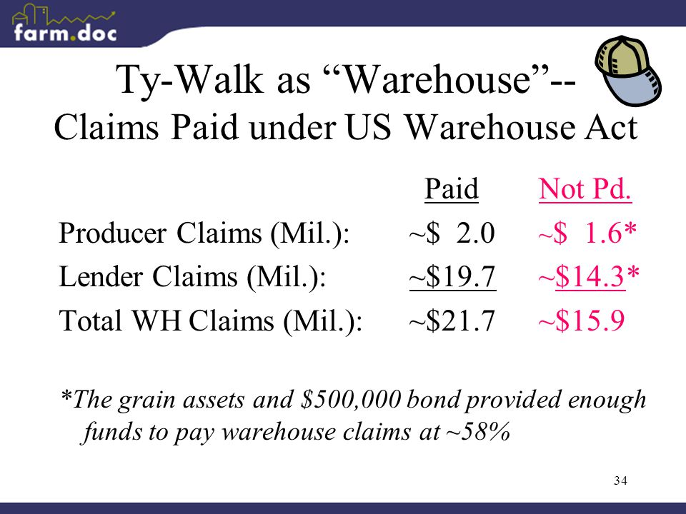 34 Ty-Walk as Warehouse -- Claims Paid under US Warehouse Act Paid Not Pd.
