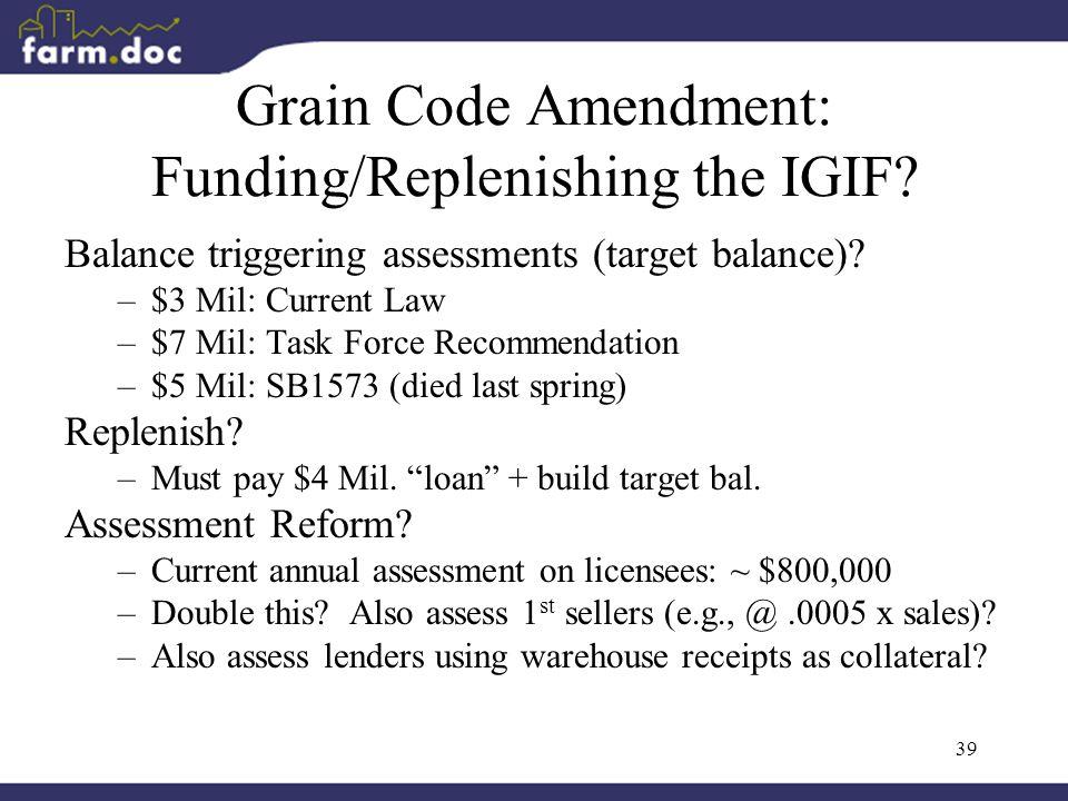 39 Grain Code Amendment: Funding/Replenishing the IGIF.