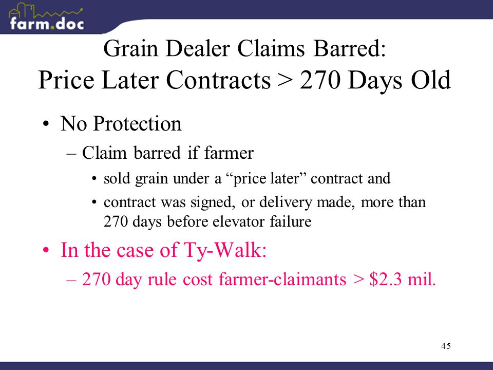 45 Grain Dealer Claims Barred: Price Later Contracts > 270 Days Old No Protection –Claim barred if farmer sold grain under a price later contract and contract was signed, or delivery made, more than 270 days before elevator failure In the case of Ty-Walk: –270 day rule cost farmer-claimants > $2.3 mil.