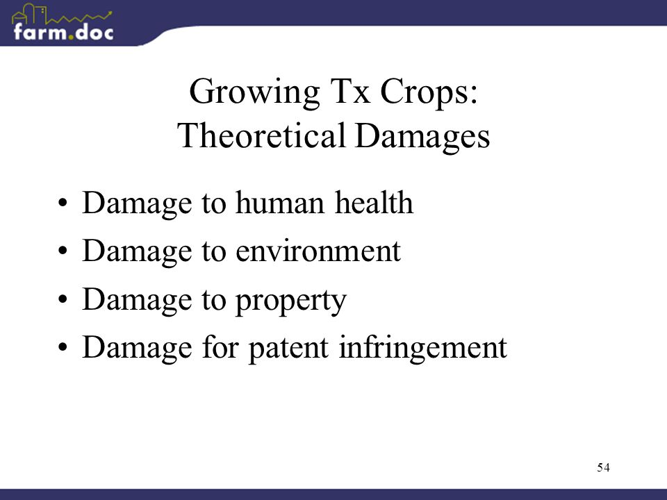 54 Growing Tx Crops: Theoretical Damages Damage to human health Damage to environment Damage to property Damage for patent infringement