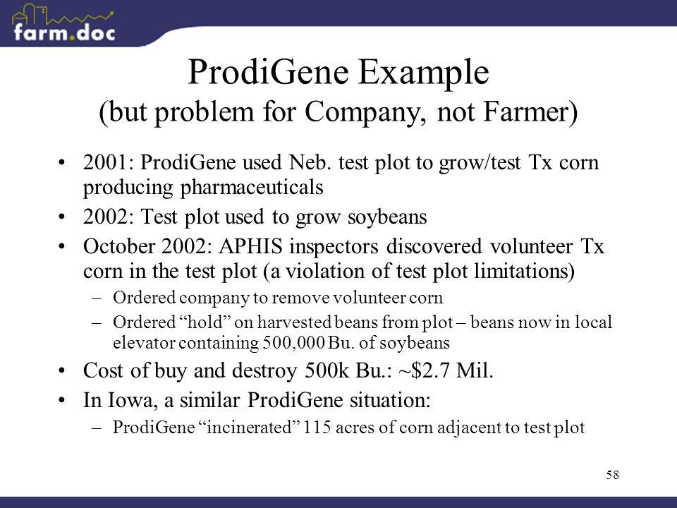 58 ProdiGene Example (but problem for Company, not Farmer) 2001: ProdiGene used Neb.
