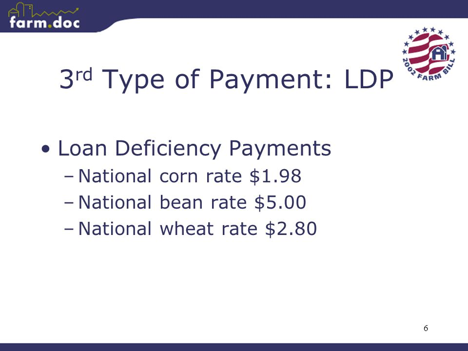6 3 rd Type of Payment: LDP Loan Deficiency Payments –National corn rate $1.98 –National bean rate $5.00 –National wheat rate $2.80