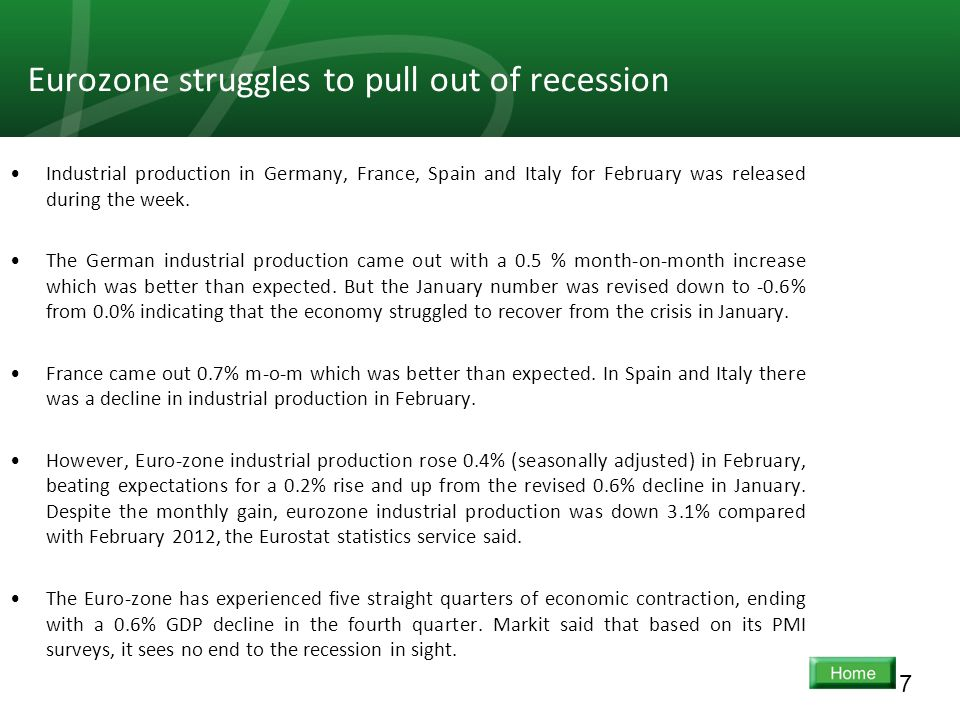 7 Eurozone struggles to pull out of recession Industrial production in Germany, France, Spain and Italy for February was released during the week. The