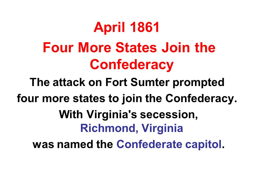 In 1862, another act stated that all slaves of men who supported the Confederacy were to be considered free.