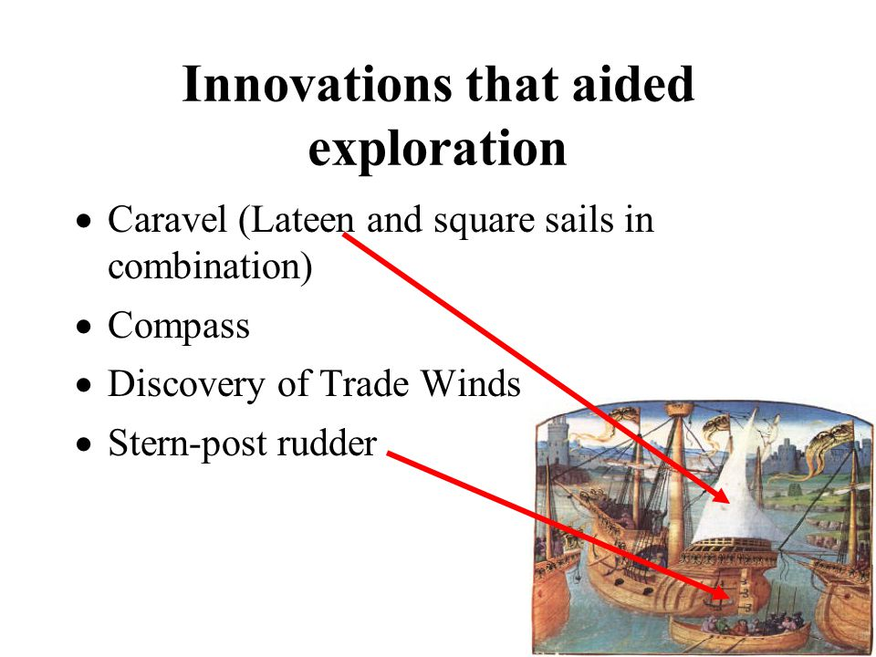 Innovations that aided exploration  Caravel (Lateen and square sails in combination)  Compass  Discovery of Trade Winds  Stern-post rudder