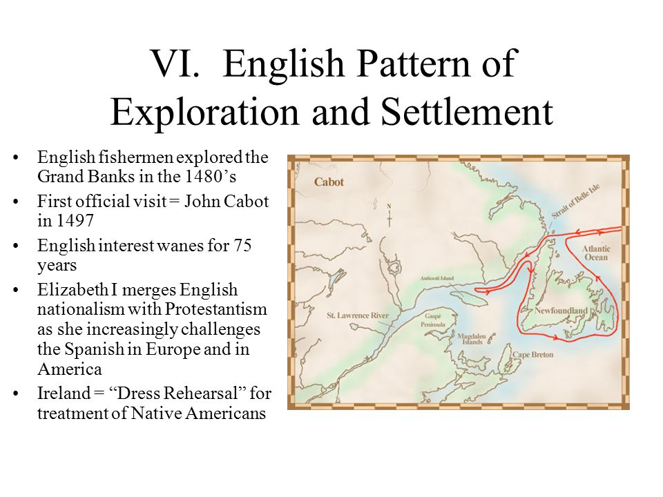 VI. English Pattern of Exploration and Settlement English fishermen explored the Grand Banks in the 1480's First official visit = John Cabot in 1497 E