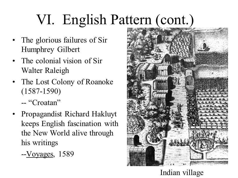VI. English Pattern (cont.) The glorious failures of Sir Humphrey Gilbert The colonial vision of Sir Walter Raleigh The Lost Colony of Roanoke (1587-1
