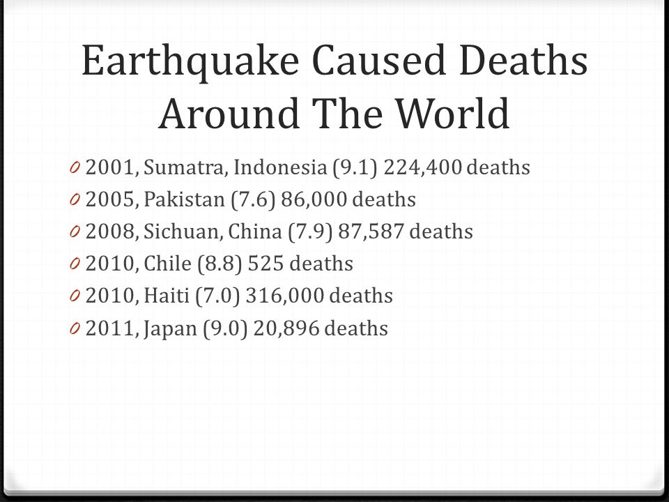 Our plan: 0 The number one cause of death during earthquakes is from collapsing buildings.