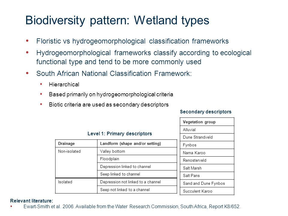 Page 11 Biodiversity pattern: Wetland types Floristic vs hydrogeomorphological classification frameworks Hydrogeomorphological frameworks classify according to ecological functional type and tend to be more commonly used South African National Classification Framework: Hierarchical Based primarily on hydrogeomorphological criteria Biotic criteria are used as secondary descriptors Vegetation group Alluvial Dune Strandveld Fynbos Nama Karoo Renosterveld Salt Marsh Salt Pans Sand and Dune Fynbos Succulent Karoo DrainageLandform (shape and/or setting) Non-isolatedValley bottom Floodplain Depression linked to channel Seep linked to channel IsolatedDepression not linked to a channel Seep not linked to a channel Level 1: Primary descriptors Secondary descriptors Relevant literature: Ewart-Smith et al.