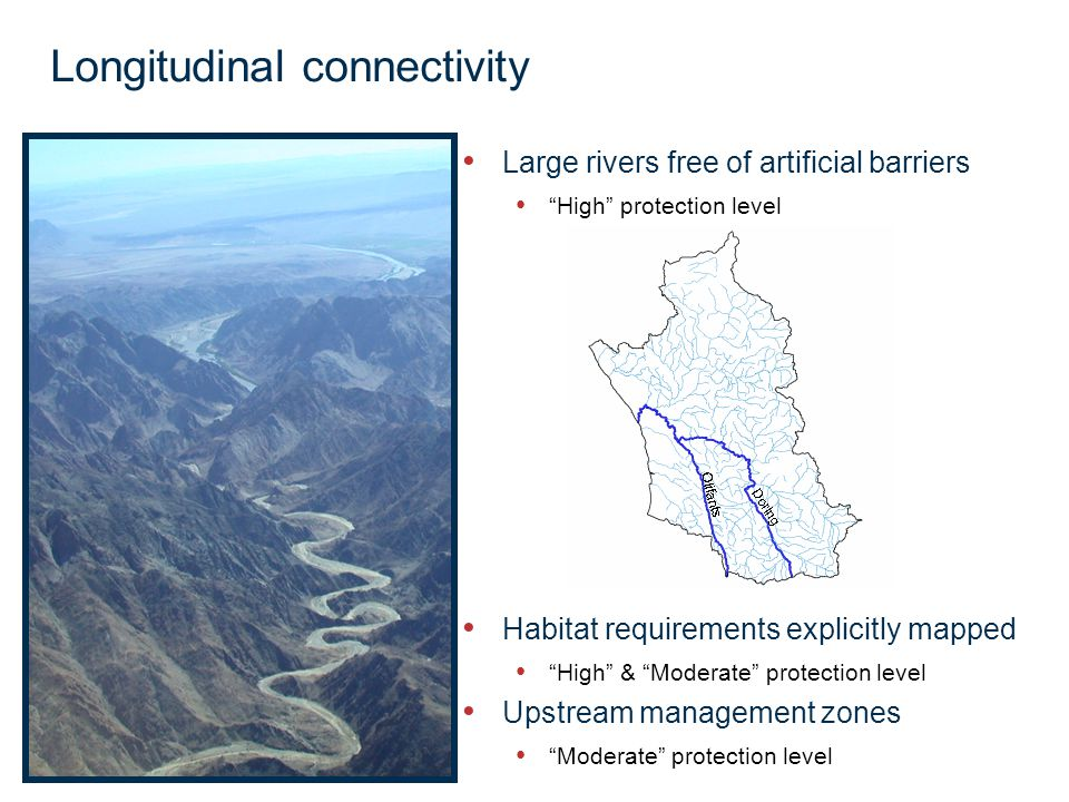 Page 25 Longitudinal connectivity Large rivers free of artificial barriers High protection level Habitat requirements explicitly mapped High & Moderate protection level Upstream management zones Moderate protection level