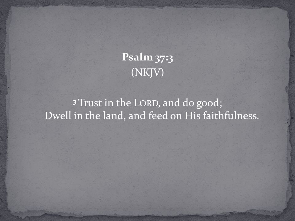 Psalm 37:3 (NKJV) 3 Trust in the L ORD, and do good; Dwell in the land, and feed on His faithfulness.