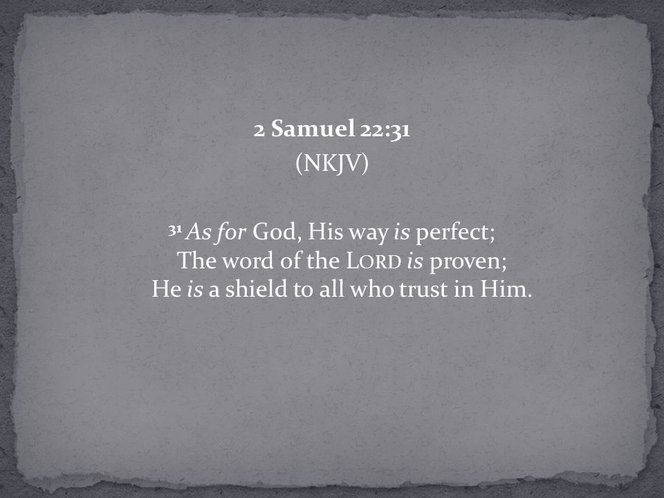2 Samuel 22:31 (NKJV) 31 As for God, His way is perfect; The word of the L ORD is proven; He is a shield to all who trust in Him.
